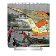 Whatever It Takes - Makeshift Sail At Tema Harbor Shower Curtain