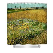 Wheat Field With Alpilles Foothills In The Background At Wheat Fields Van Gogh Series, By Vincent  Shower Curtain