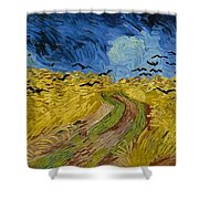Wheat Field With Crows At Wheat Fields Van Gogh Series, By Vincent Van Gogh Shower Curtain