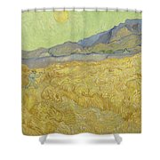 Wheat Field With Reaper At Wheat Fields Van Gogh Series, By Vincent Van Gogh Shower Curtain