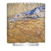 Wheat Field With Reaper Harvest In Provence Shower Curtain