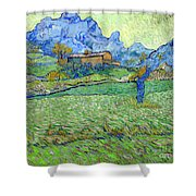 Wheat Fields In A Mountainous Landscape, By Vincent Van Gogh, 18 Shower Curtain