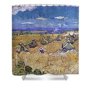 Wheat Fields With Reaper, Auvers Shower Curtain