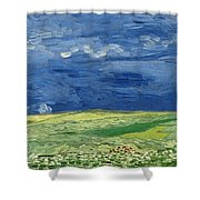 Wheatfield Under Thunderclouds At Wheat Fields Van Gogh Series, By Vincent Van Gogh Shower Curtain