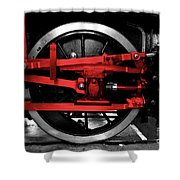 Wheel Of Red Steel Shower Curtain