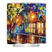 When The City Sleeps 2 - Palette Knife Oil Painting On Canvas By Leonid Afremov Shower Curtain