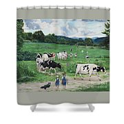 When The Cows Come Home, It's Milking Time Shower Curtain