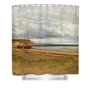 When The Tide Is Low  Maer Rocks, Exmouth, Shower Curtain