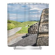 Where The Rubber Meets The Road Shower Curtain
