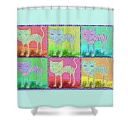 Whimsical Colorful Tabby Cat Pop Art Shower Curtain