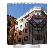 Whimsical Madrid - A Building Draped In Traditional Spanish Mantilla Shower Curtain