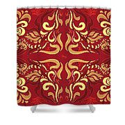 Whimsical Organic Pattern In Yellow And Red I Shower Curtain