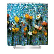 Whimsical Poppies On The Blue Wall Shower Curtain