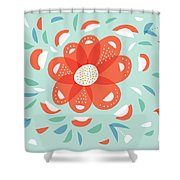 Whimsical Red Flower Shower Curtain