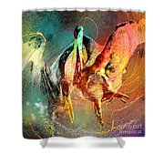 Whirled In Digital Rainbow Shower Curtain
