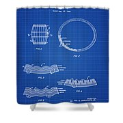 Whiskey Barrel Patent 1968 In Blue Print Shower Curtain