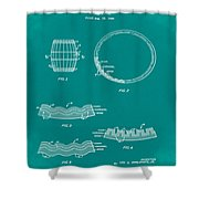 Whiskey Barrel Patent 1968 In Green Shower Curtain