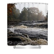 Whiskey River - Foggy Fall Waterscape Shower Curtain