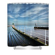 Whitby Piers Shower Curtain