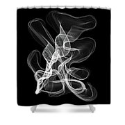 White Abstract Swirl On Black Shower Curtain