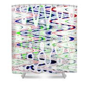 White And Blue Abstract Shower Curtain