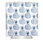 White And Blue Pineapple Party Shower Curtain