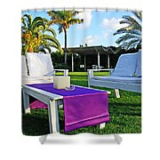 White And Purple Shower Curtain