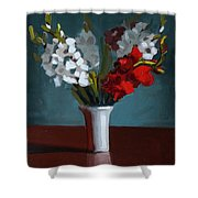 White And Red Gladioli Shower Curtain