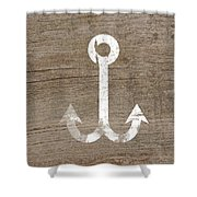 White And Wood Anchor- Art By Linda Woods Shower Curtain by Linda Woods