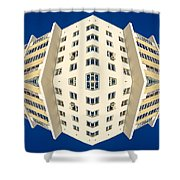 White Apartment Block Abstract And Blue Sky Shower Curtain