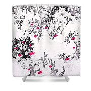 White As Snow With Cherries Shower Curtain