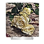 White Baby Roses Shower Curtain
