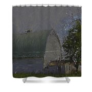 White Barn Digital Painting Shower Curtain