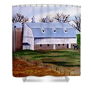 White Barn On A Cloudy Day Shower Curtain