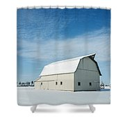 White Barn With Snow Shower Curtain