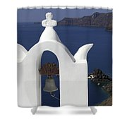 White Bell Tower Shower Curtain