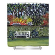 White Bench In Colorful Garden Shower Curtain