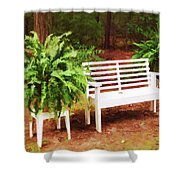 White Bench Sitting In A Beautiful Garden 2 Shower Curtain