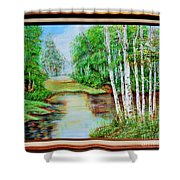 White Birch On The Lake Shower Curtain