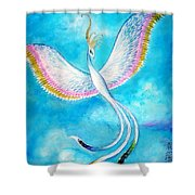 White Bird From Kingdom Of Immortals Shower Curtain