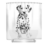 Dalmatian Dog Watercolor Painting, White Black Spotted Dalmatian Puppy Art Print Shower Curtain