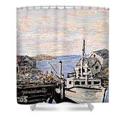 White Boat In Peggys Cove Nova Scotia Shower Curtain