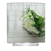 White Wedding Bouquet  Shower Curtain