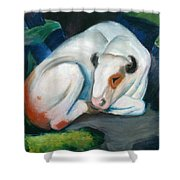White Bull Resting In The Woods By Franz Marc Shower Curtain