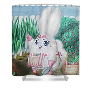 White Bunny Shower Curtain