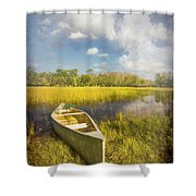 White Canoe Textured Painting Shower Curtain
