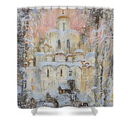 White Cathedral Under Snow Shower Curtain