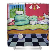 White Cats - Cat Napping Shower Curtain