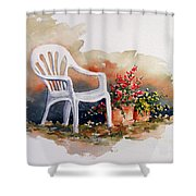 White Chair With Flower Pots Shower Curtain