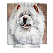 White Chow Chow Shower Curtain